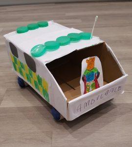 Handmade cardboard ambulance