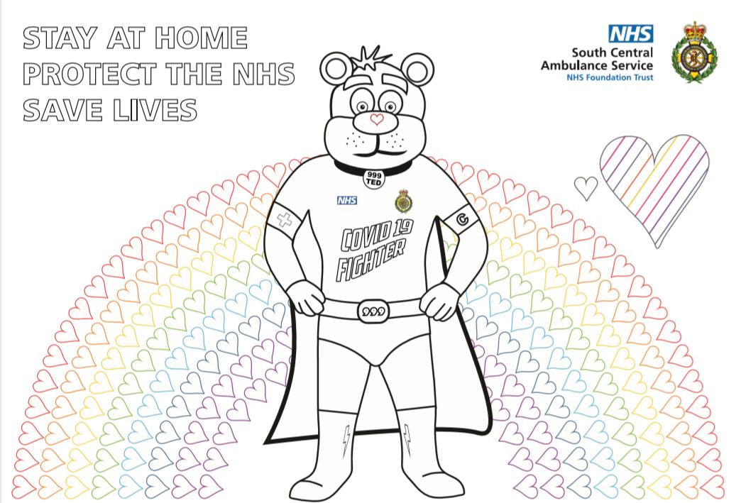 999 Ted COVID Rainbow Hearts Colouring Sheet