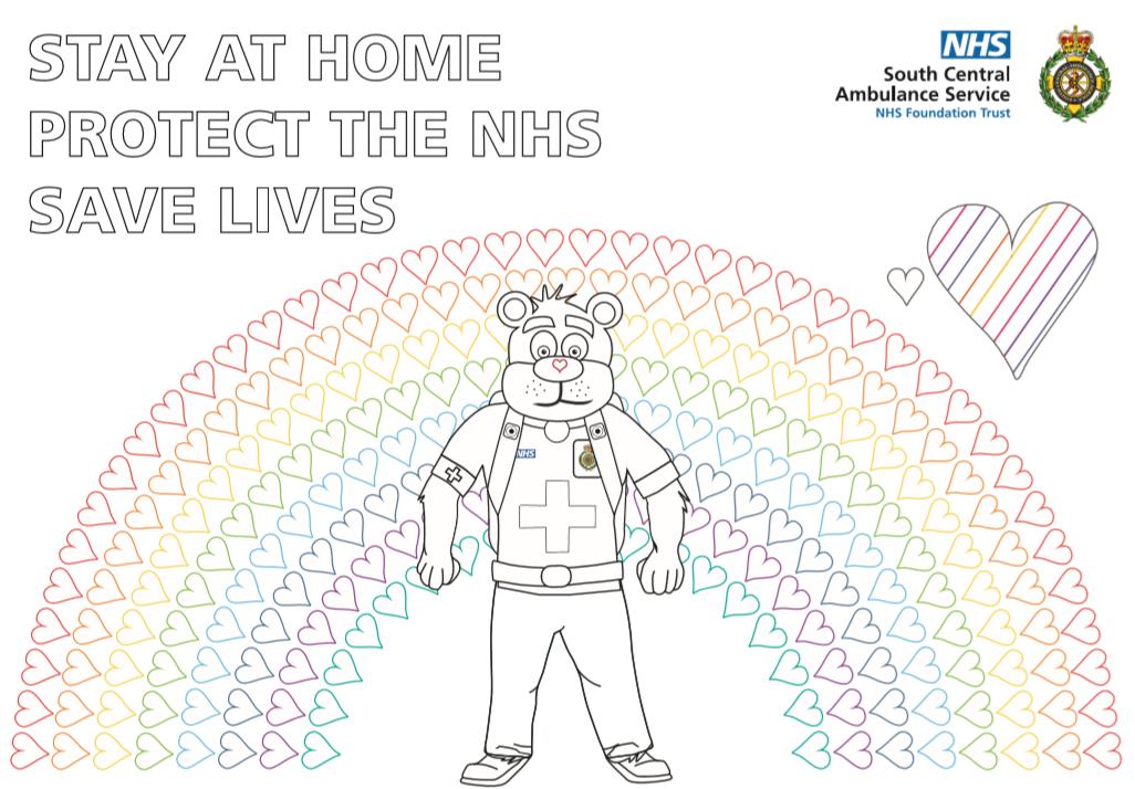 999 Ted Rainbow Hearts Colouring Sheet