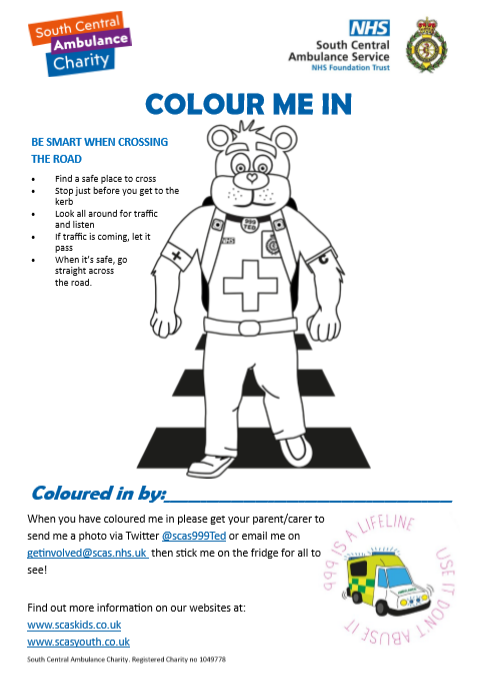 Road Safety Colouring Sheet
