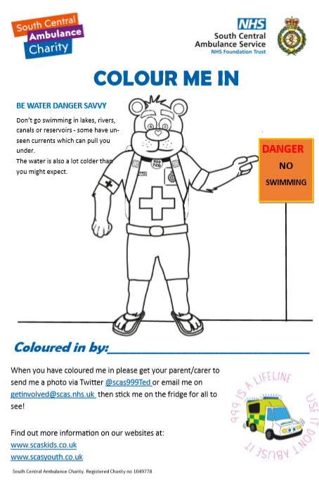 Water Safety Colouring Sheet