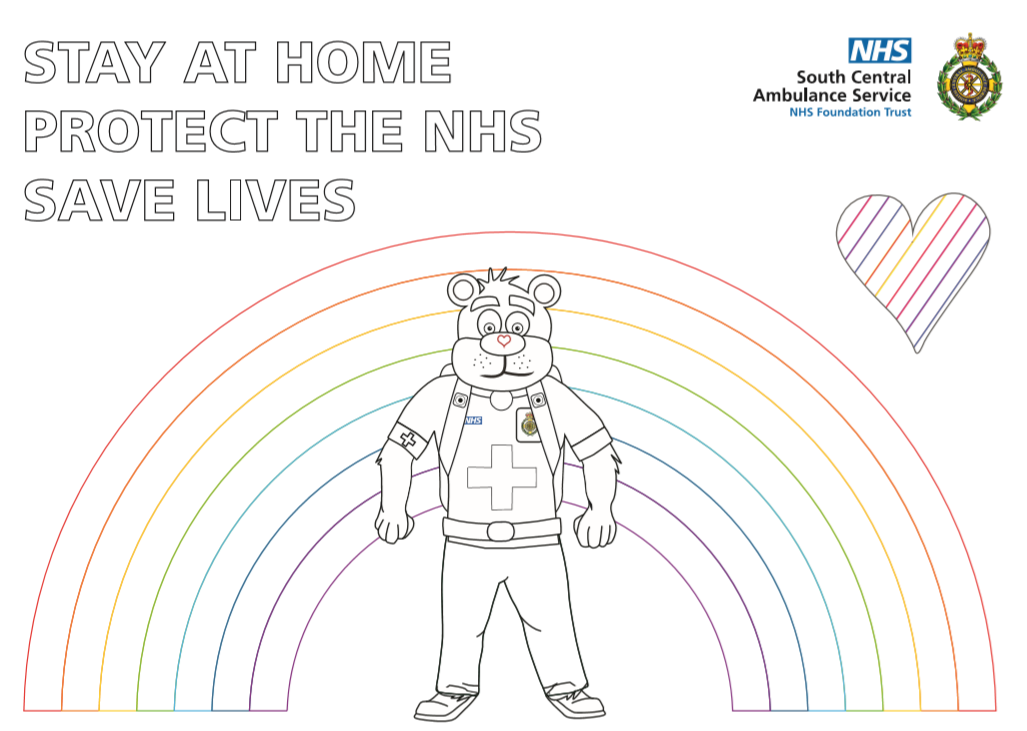 999 Ted Rainbow Colouring Sheet