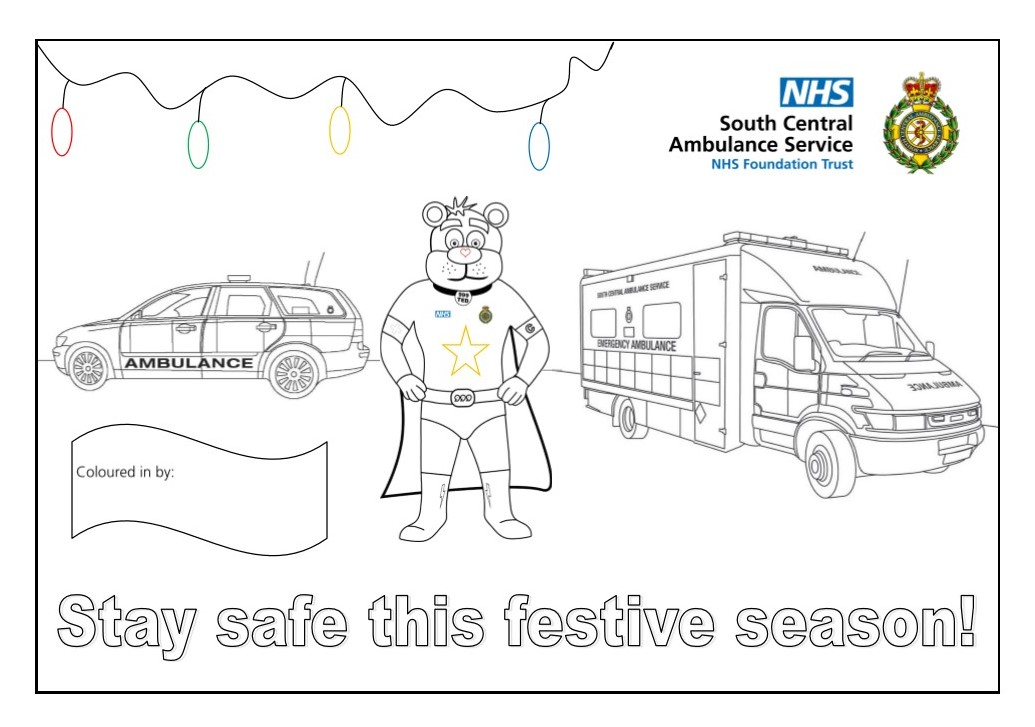 Stay Safe This Festive Season Colouring Sheet
