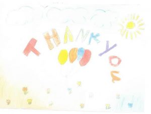 Child's drawings with a thank you note