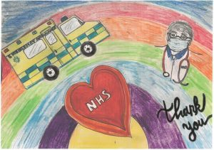 Colourful drawings including a heart, an ambulance and a doctor