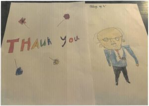 Child's drawings and a thank you note
